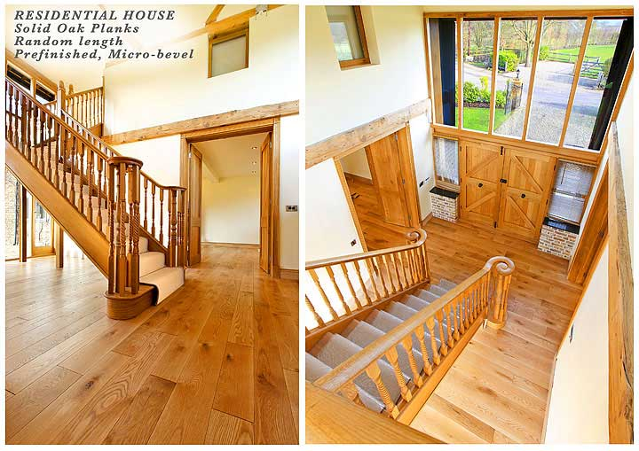 Solid oak planks of random length, pre-finished and micro-bevelled
