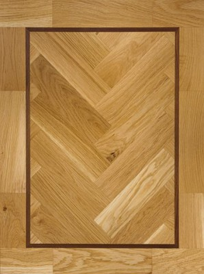Clear Oil with Walnut Insert parquet block flooring