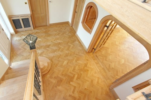 Arial shot of solid wood parquet block flooring