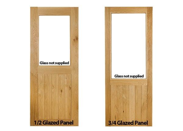 framed and ledged half glazed and three quarter glazed oak door