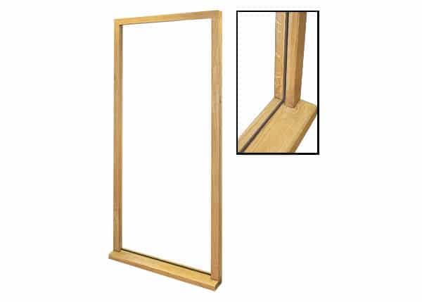 Solid oak door frame with close up shot
