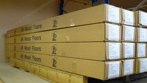 Finished UK Wood Floors packed and ready for delivery.