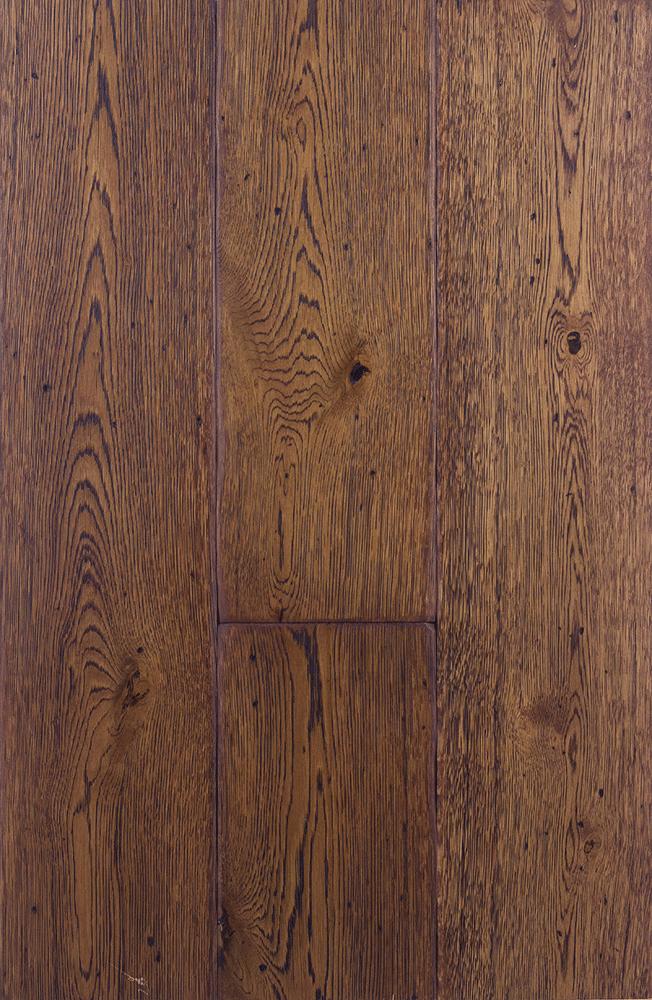 Dark Grain Walnut Stain Clear Hard Wax Oil Engineered Antique Grade Oak Planks Flooring UK Manufactured European Oak