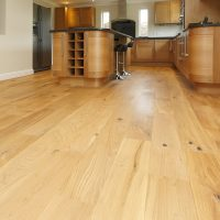 Light wooden floor in a kitchen